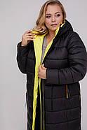 / Размеры 48,50,52,54,56,58 / Женское удлиненное пальто прямого силуэта / М 961 черный +желтый, фото 3