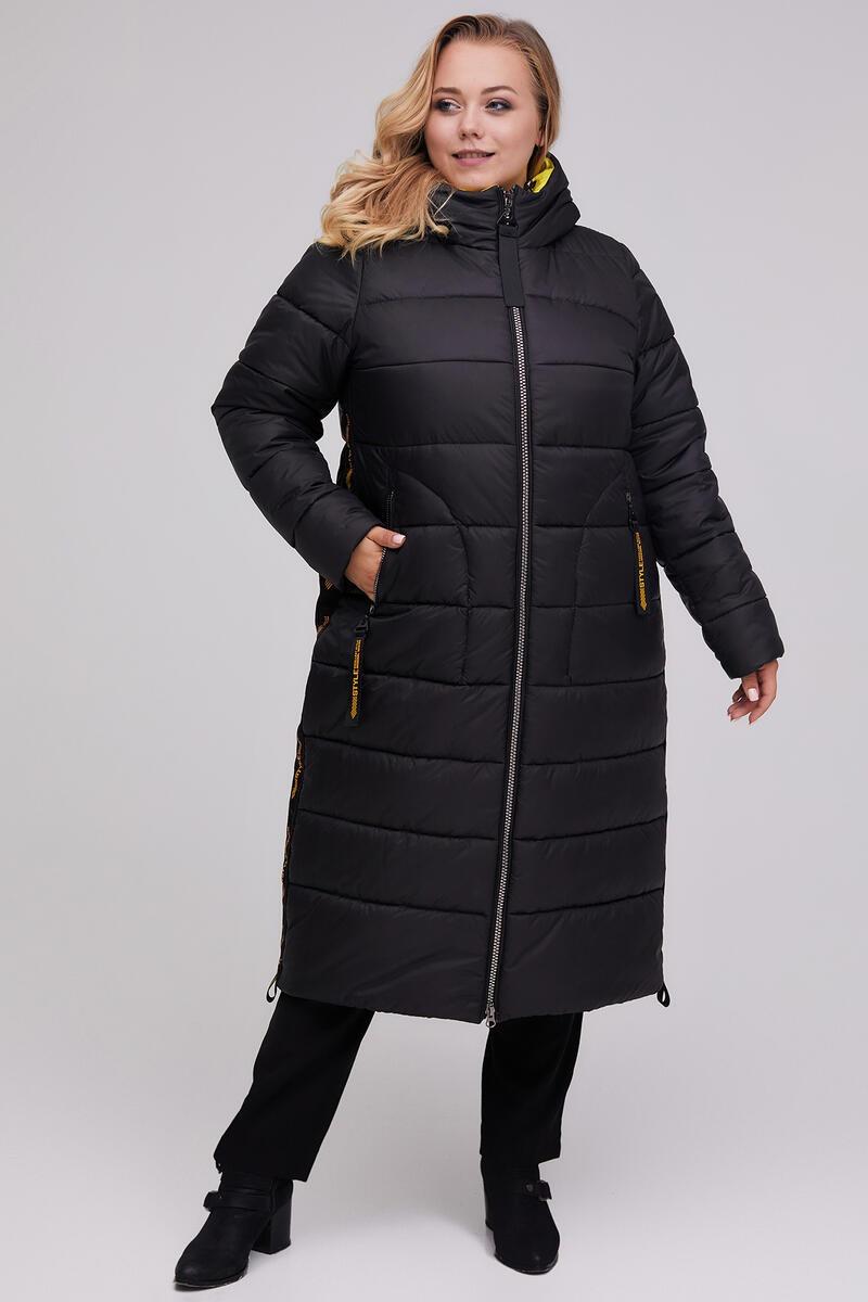 / Размеры 48,50,52,54,56,58 / Женское удлиненное пальто прямого силуэта / М 961 черный +желтый