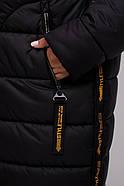 / Размеры 48,50,52,54,56,58 / Женское удлиненное пальто прямого силуэта / М 961 черный +желтый, фото 2