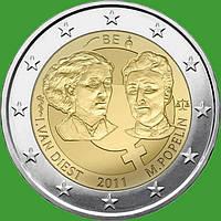 Бельгия 2 евро 2011 г .Международный женский день . UNC