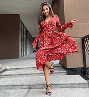 Нежное женское платье миди с поясом