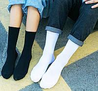 Носки 40-43 размер 6 пар высокие плотные хлопок 3 белых + 3 черных комплект упаковка женские / мужские