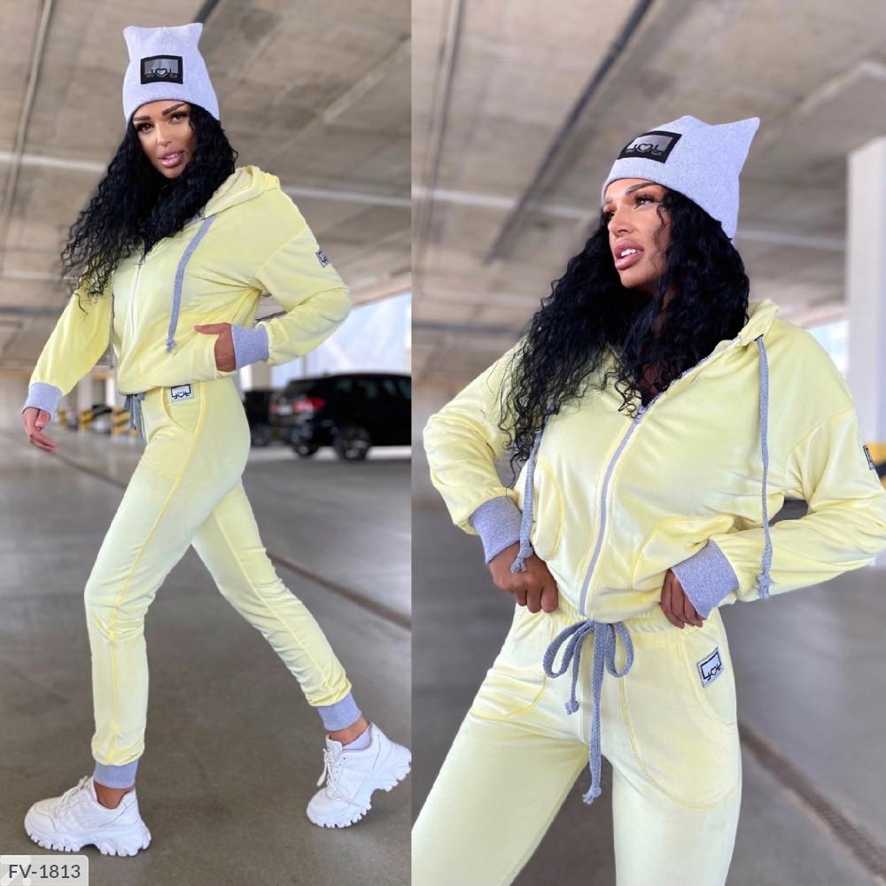 Плюшевый спортивный костюм женский велюр плюш мягкий удобный кофта с капюшоном и штаны р-ры 42-46 арт. 542