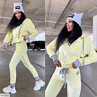 Плюшевый спортивный костюм женский велюр плюш мягкий удобный кофта с капюшоном и штаны р-ры 42-46 арт. 542, фото 1