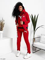 Костюм тройка с жилеткой женский спортивный теплый жилет на синтепоне с капюшоном арт 2047, фото 1