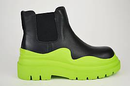 Ботинки Челси на салатовой подошве Berkonty 21809 38 Черный