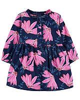 Симпатичне платтячко з довгим рукавом Квіточки для дівчинки Картерс, фото 1