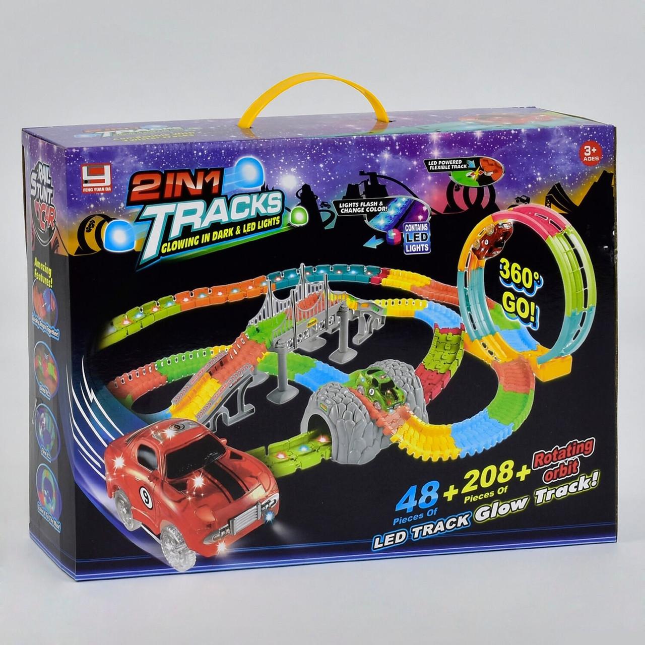 """Дитячий гоночний трек FYD 170238 269 деталей, 2 машинки, """"2в1: LED-підсвічування. Автотрек"""