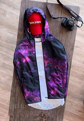 Вітрівка чоловіча оригінальна з космосом з капюшоном куртка демісезонна легка