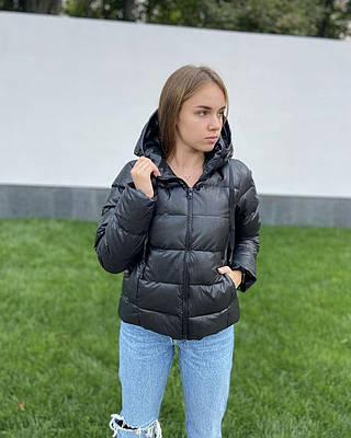 Женская демисезонная дутая куртка из экокожи