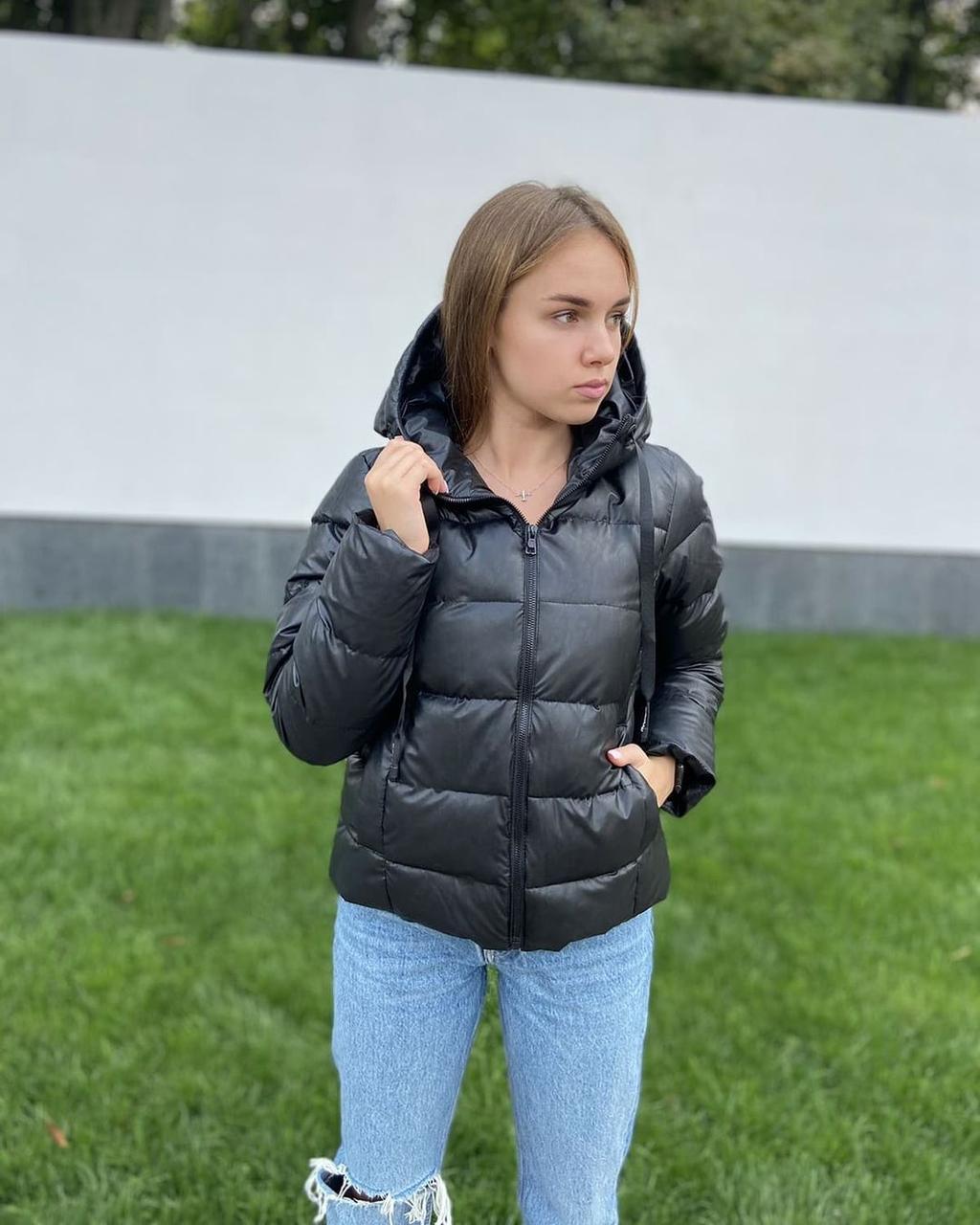 Жіноча демісезонна дута куртка з екошкіри