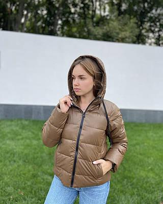 Женская дутая коричневая куртка из экокожи