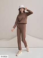 Зручний жіночий спортивний костюм для прогулянок однотонний повсякденний з двуніткі арт 136, фото 1