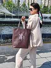 "Базовая сумка ""Amber Fancy""  с вышивкой  LineArt #4, цвет на выбор"