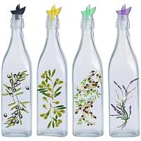 Бутылка стеклянная для масла Греция 1л. с дозатором в ассортименте