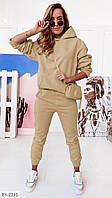 Зручний жіночий спортивний костюм на щодня кофта з капюшоном та штани двунітка арт 010