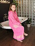Махровий жіночий халат з капюшоном Рожевий турецького виробництва, бренд KAYRA розмір 46-50, фото 3