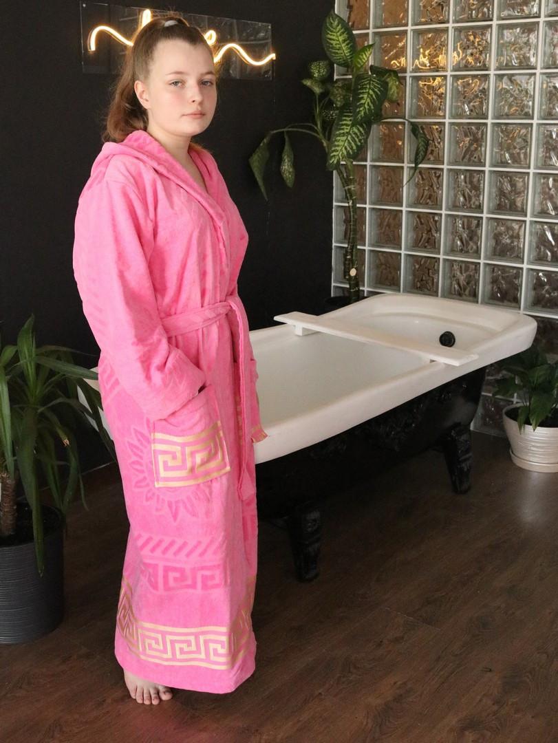 Махровий жіночий халат з капюшоном Рожевий турецького виробництва, бренд KAYRA розмір 46-50