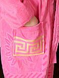 Махровий жіночий халат з капюшоном Рожевий турецького виробництва, бренд KAYRA розмір 46-50, фото 4
