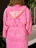 Махровий жіночий халат з капюшоном Рожевий турецького виробництва, бренд KAYRA розмір 46-50, фото 2