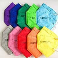 Маска KN95 FFP2 CE 10 шт MIX цветные яркие цвета пятислойная защитная многоразовая респиратор сертификат