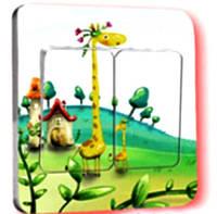 Наклейка на выключатель Жирафик 3D декор