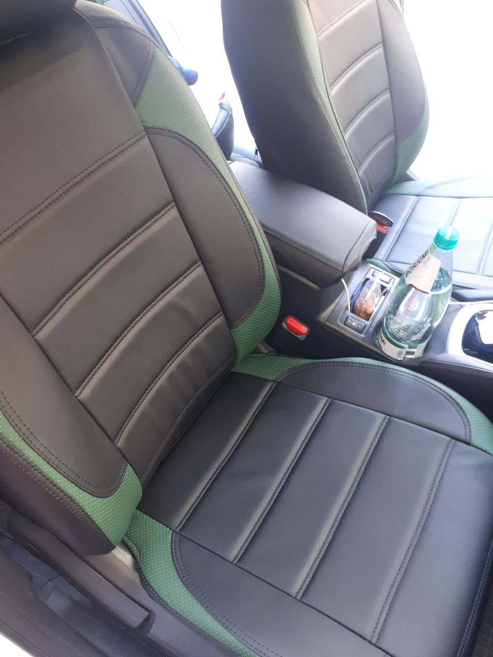 Чехлы на сиденья Мерседес W124 (Mercedes W124) модельные MAX-L из экокожи Черно-зеленый