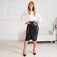Женская классическая черная юбка карандаш с эко-кожи