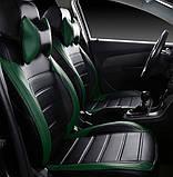 Чохли на сидіння Хендай І-30 (Hyundai i30) (модельні, MAX-L, окремий підголовник) Чорно-зелений, фото 4