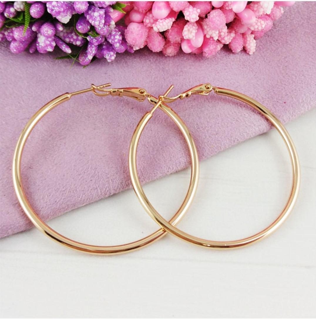 Сережки кільця діаметр 3.5 см Xuping медичне золото позолота 18К с780