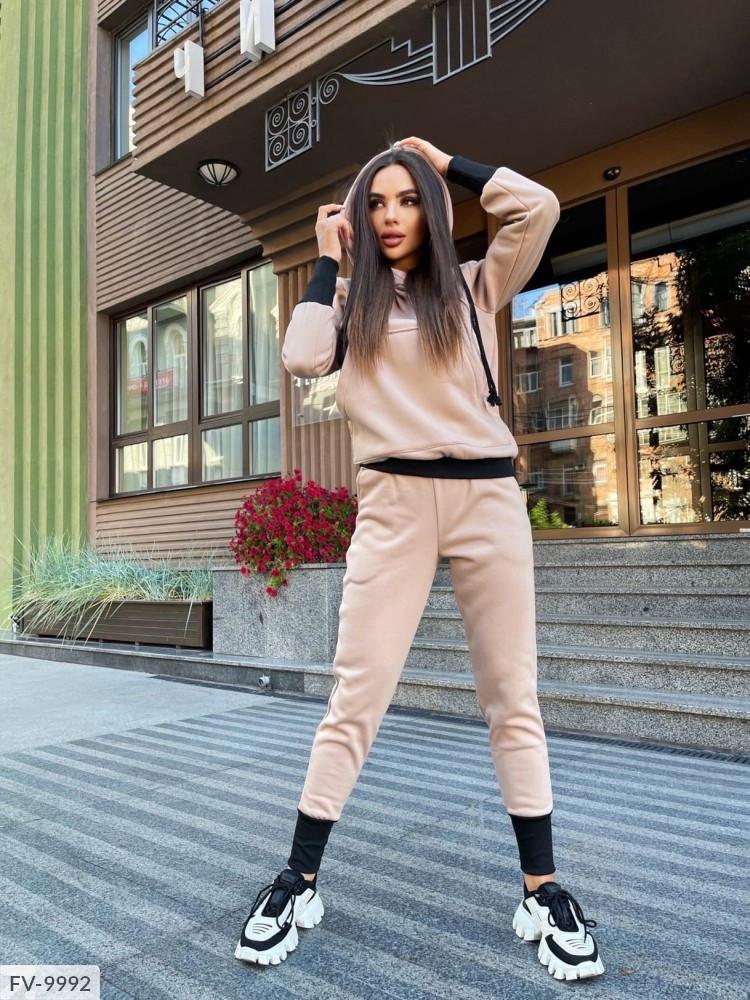 Модний молодіжний жіночий спортивний костюм утеплений трехнитка на флісі толстовка і штани арт 0102