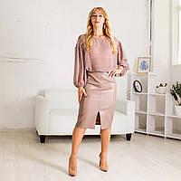 Классическая юбка с эко-кожи с завышенной талией