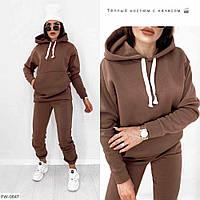 Модный теплый женский спортивный костюм прогулочный повседневный утепленный на флисе худи-толстовка и штаны, фото 1