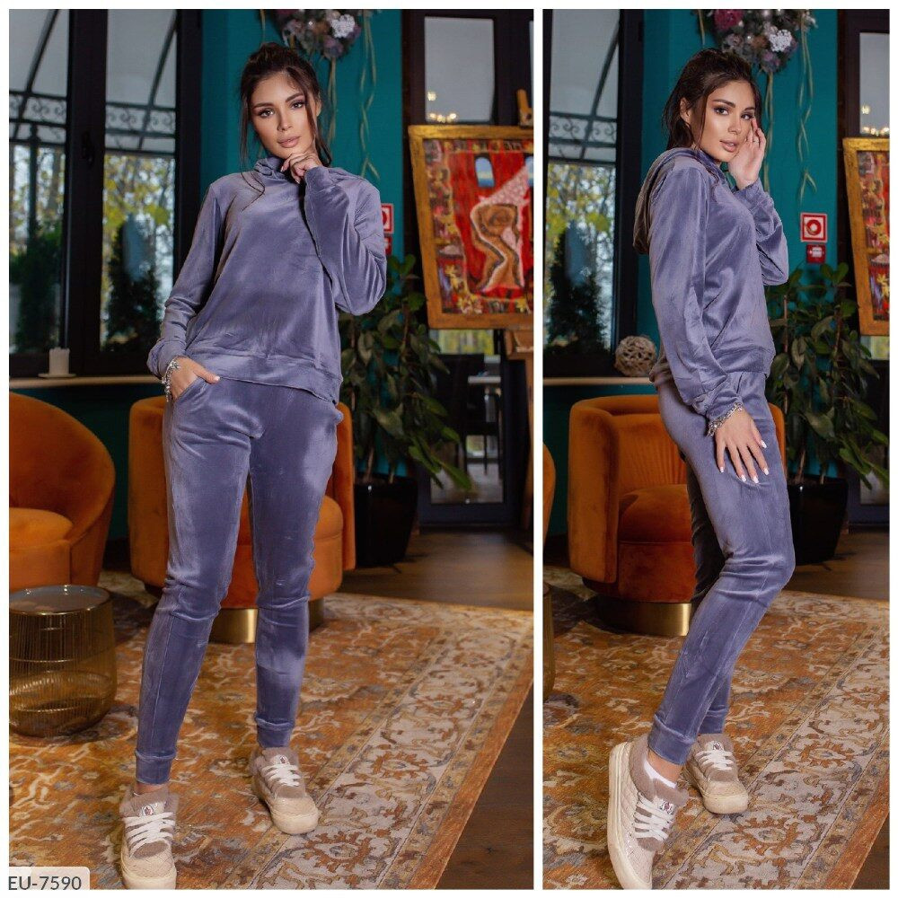 Красивый мягкий велюровый спортивный костюм женский прогулочный свитшот и штаны арт 003
