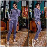 Красивый мягкий велюровый спортивный костюм женский прогулочный свитшот и штаны арт 003, фото 1