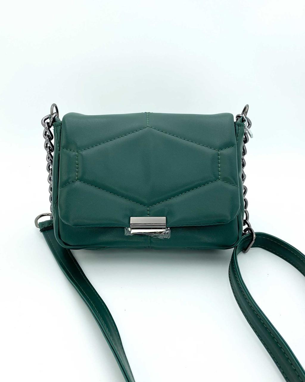Сумочка зелена через плече стильна жіноча маленька крос боді елегантна сумка зеленого кольору