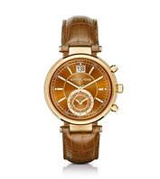 Часы Michael Kors Sawyer Gold-Tone Watch Brown Leather Band МК2424