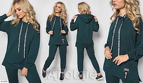 Зручний жіночий спортивний костюм для прогулянок з двуніткі видовжене худі оверсайз і штани арт 757