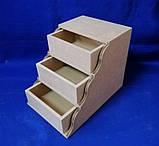 Комод Сходинка на 3 ящики 17х25,5х20 см МДФ заготівля для декору, фото 5