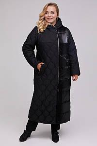 Длинное стеганое женское зимнее пальто больших размеров 48-64