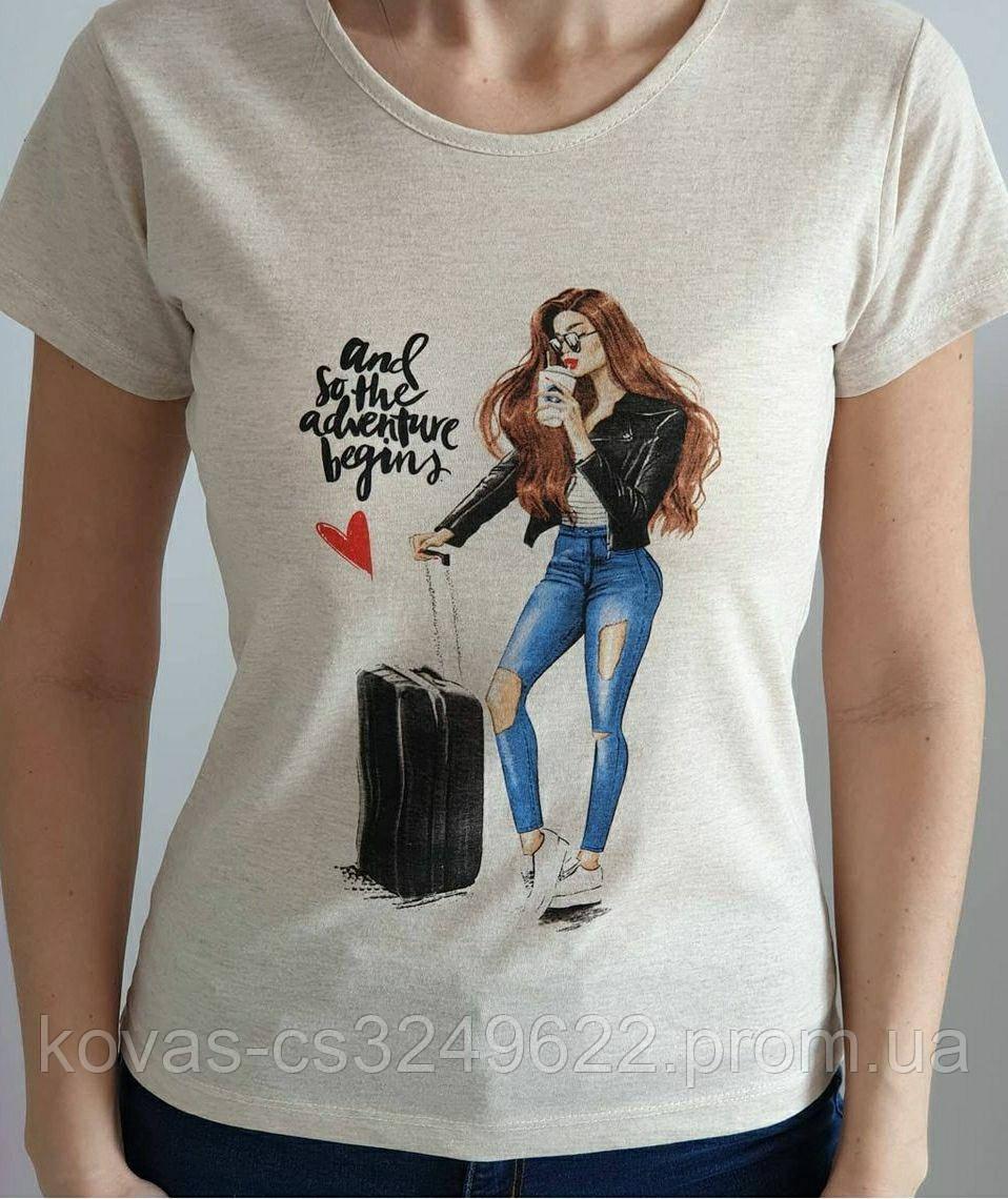 Жіноча трикотажна футболка , принт : Дівчина з валізою