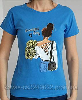 Женская трикотажная футболка , , принт : Девушка с букетом
