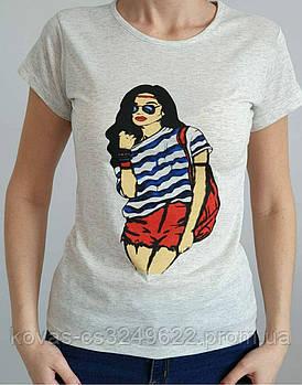 Женская трикотажная футболка , , принт : Девушка в тельняшке