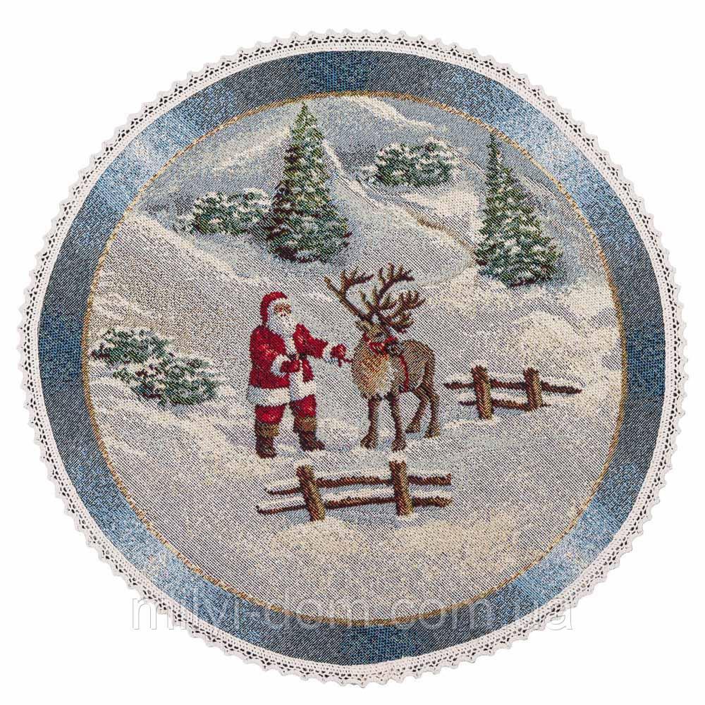 """Кругла серветка під тарілку """"Різдво в Карпатах"""", O30, гобелен, від 4 штук"""