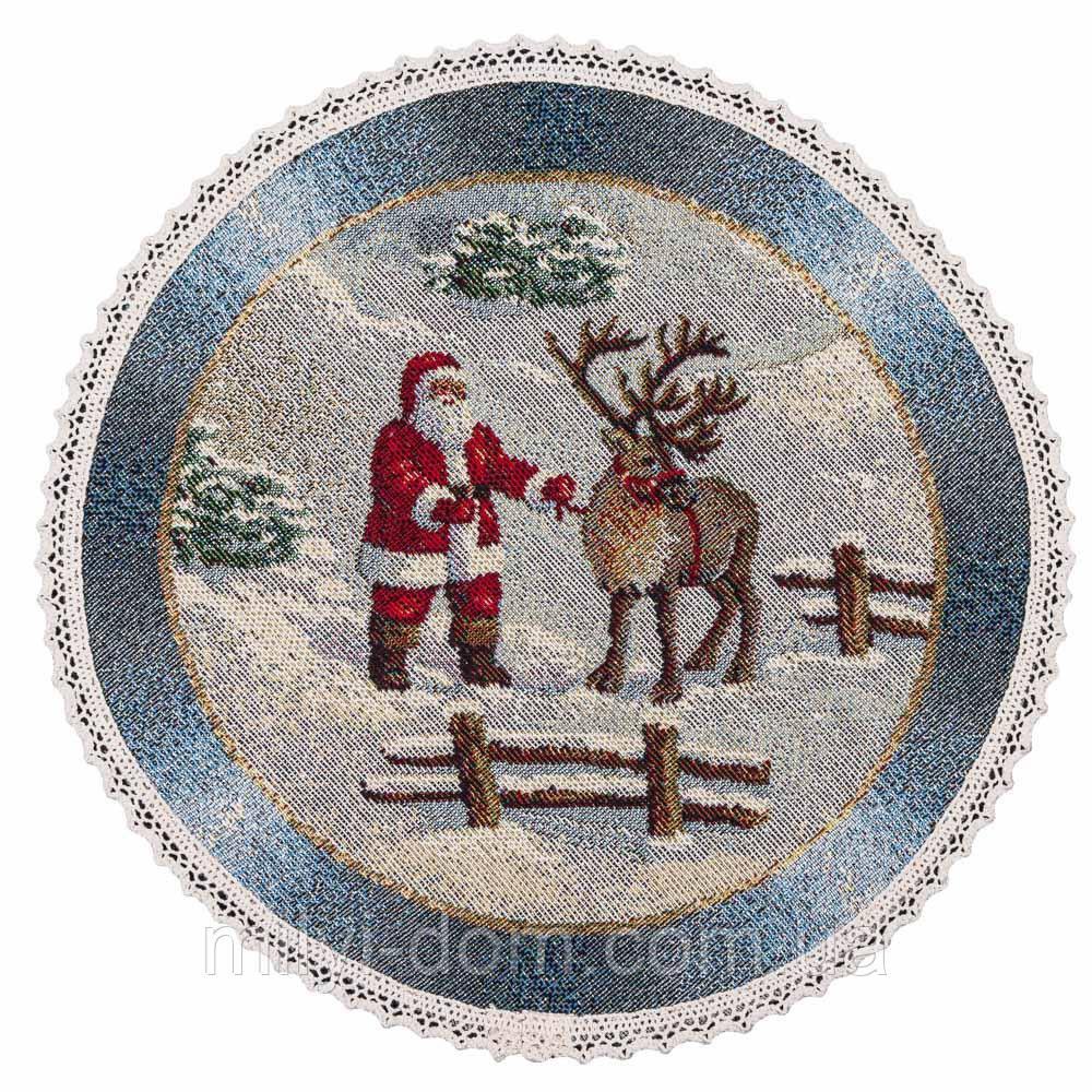 "Салфетка под тарелку  ""Рождество в Карпатах"", Ø20, гобелен, от 4 штук"