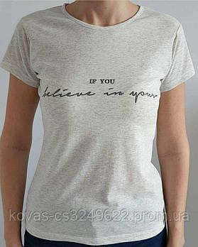 Женская трикотажная футболка , , принт : Надписи