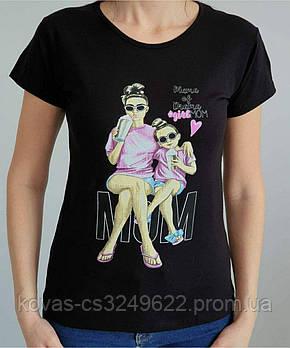 Женская трикотажная футболка , принт : Mom