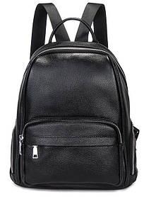 Жіночий шкіряний рюкзак чорний. Молодіжний жіночий рюкзак на кожен день