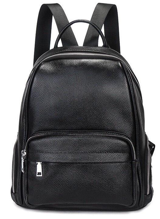 Женский кожаный рюкзак черный. Молодежный женский рюкзак на каждый день