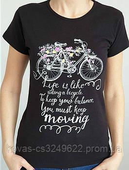 Женская трикотажная футболка , принт : Велосипед